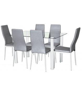 Conjunto de mesa salon y 6 sillas tapizadas.