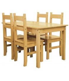 Conjunto mesa y 4 sillas pino.