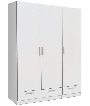Armario 3 puertas + 2 cajones blanco